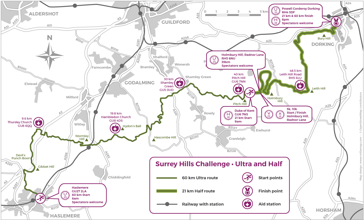 The Surrey Hills Challenge Half & Ultra Routes